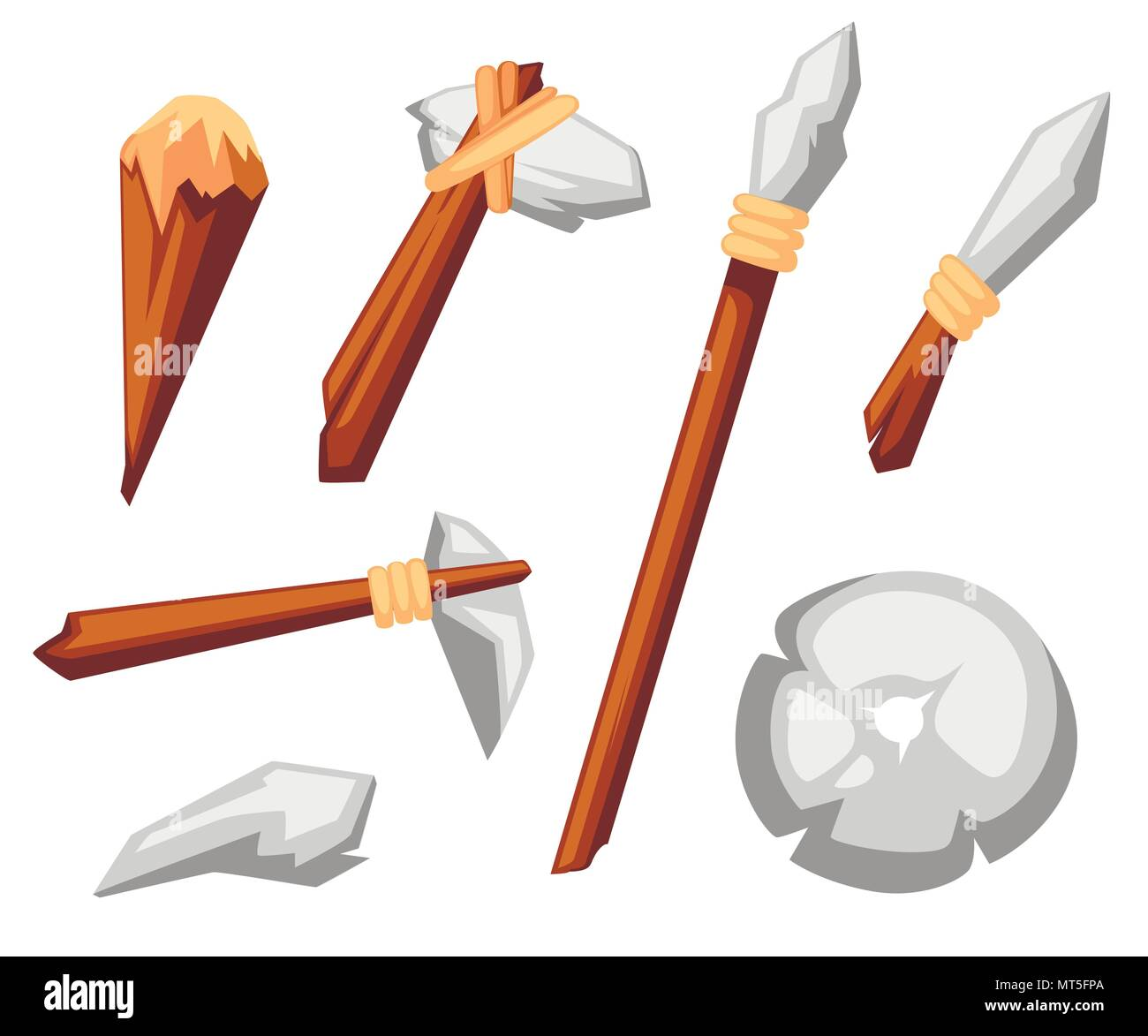 Stone tools set. Stone age primitive work tools axe, hammer, club, spear and knife. Stone wheel. Flat style vector illustration isolated on white back - Stock Image