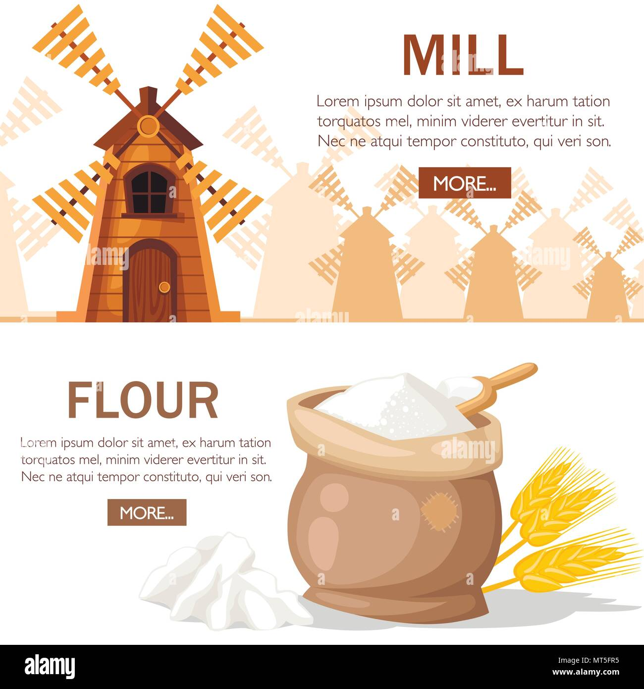 Traditional old windmill. Wooden mill with full bag of flour. Wheat ears with ooden scoop. Silver silhouette wheat ears and brown mills on background. - Stock Vector