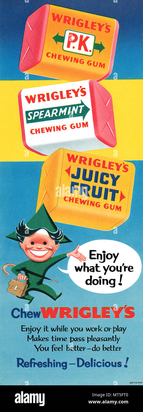 1954 British advertisement for Wrigley's Chewing Gum. - Stock Image