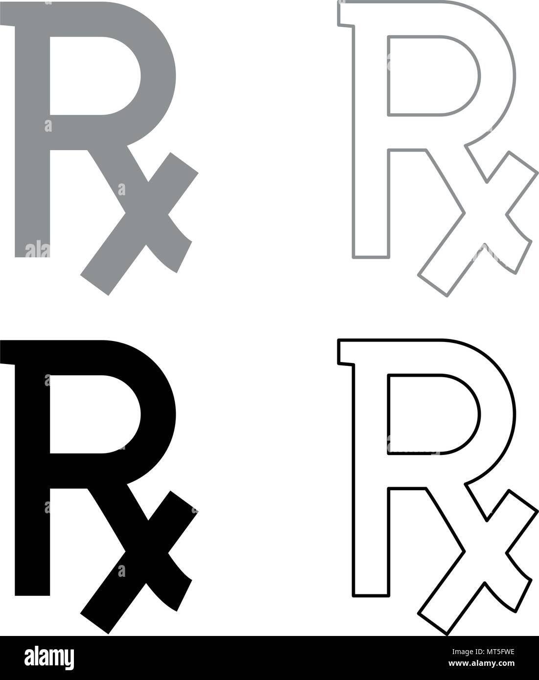 Rx Symbol Prescription Icon Set Grey Black Color Outline Stock
