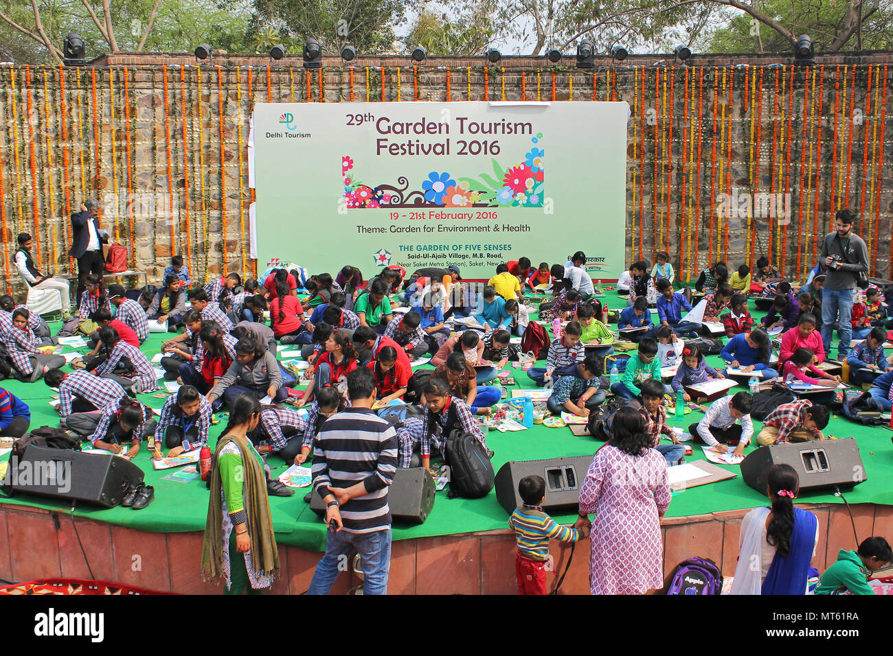 Indian School Children's participated in a Painting Competition Organised by GARDEN OF FIVE SENSES, DELHI - Stock Image