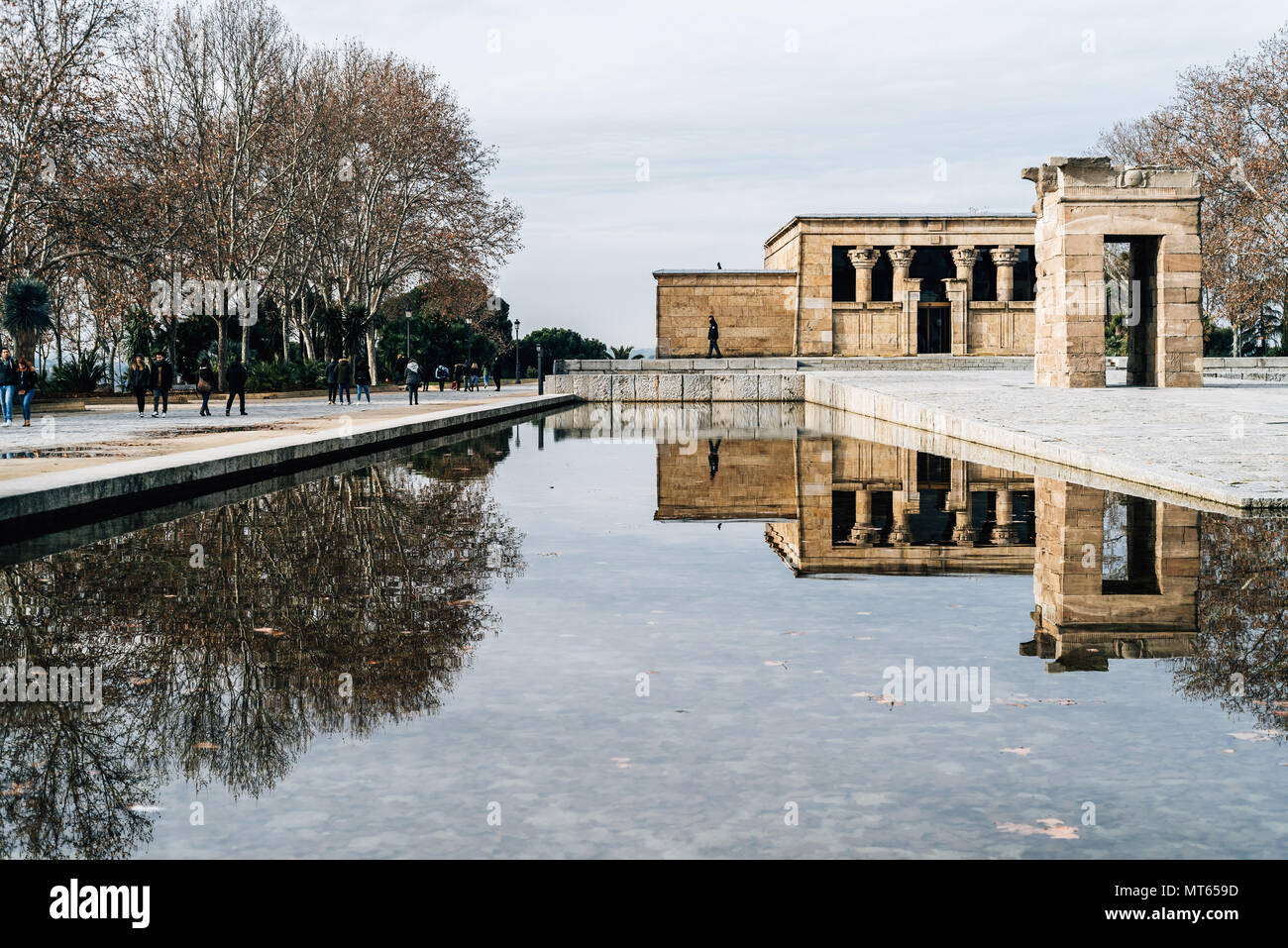 Madrid, Spain - January 13, 2018:  Temple Of Debod and water reflection Against Sky - Stock Image
