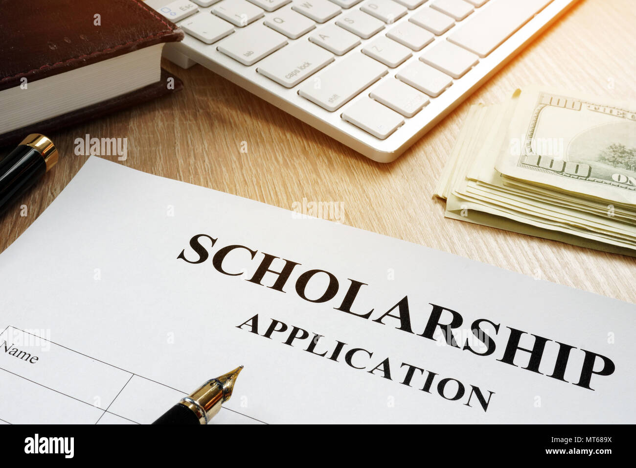 Scholarship application for student. Money for education. - Stock Image