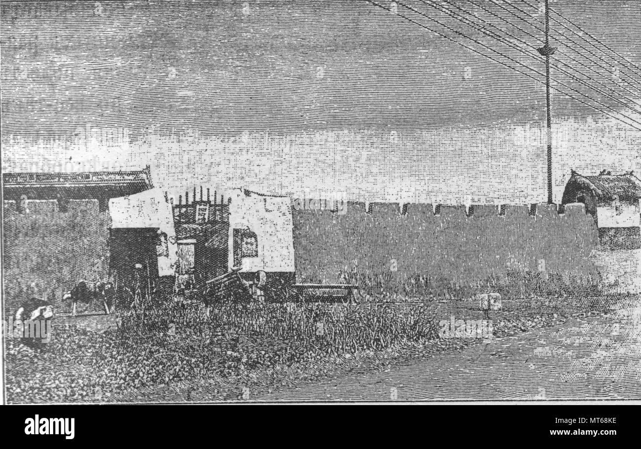 China. Fort.Vintage engraved illustration. Published in magazine in 1900. - Stock Image