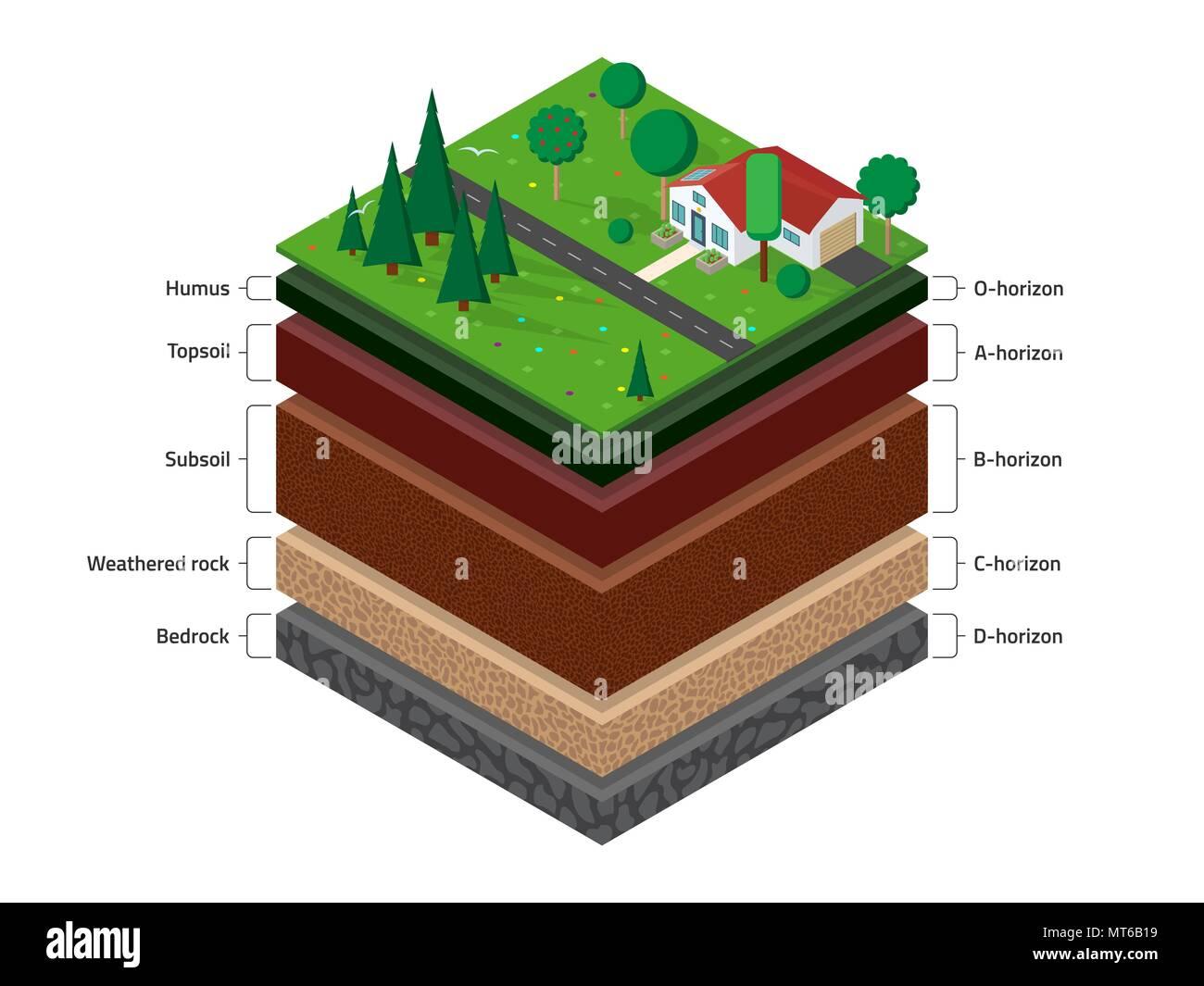 Isometric soil layers - Stock Image