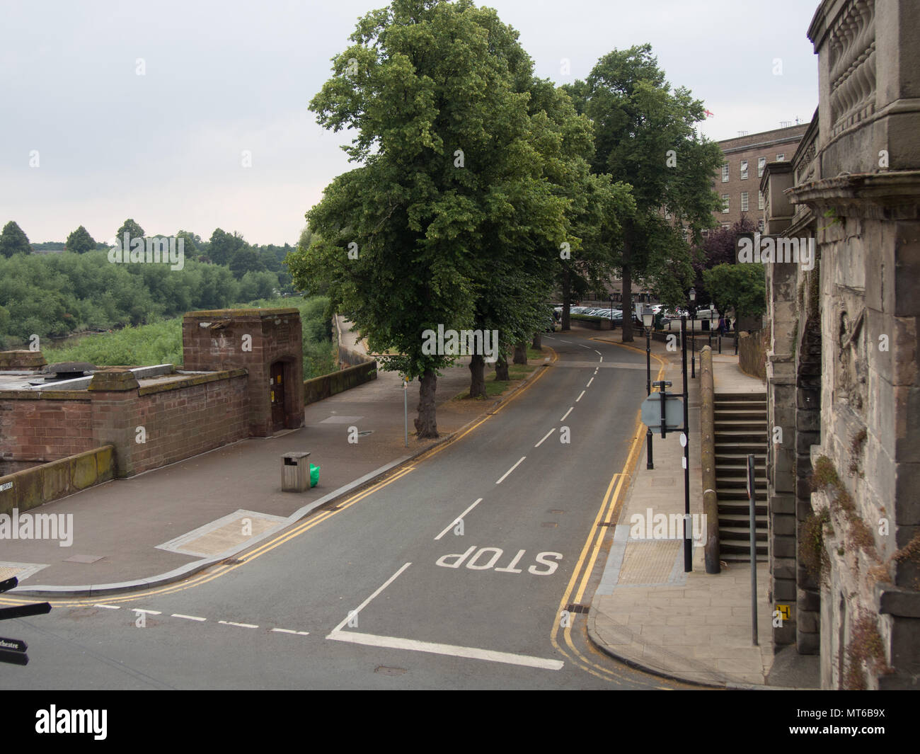 Castle drive, street without cars in Chester, England, UK. - Stock Image
