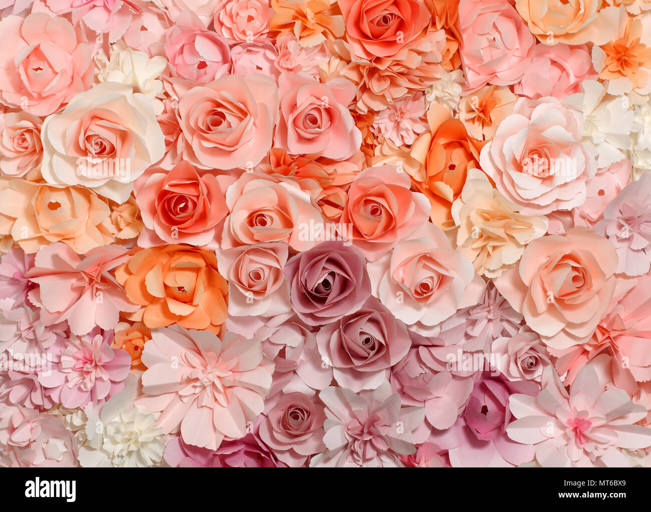 Colorful Flowers Paper Background Pattern Lovely Style Stock Photo