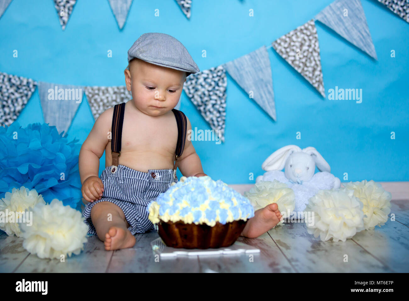 Magnificent Little Baby Boy Celebrating His First Birthday With Smash Cake Funny Birthday Cards Online Elaedamsfinfo