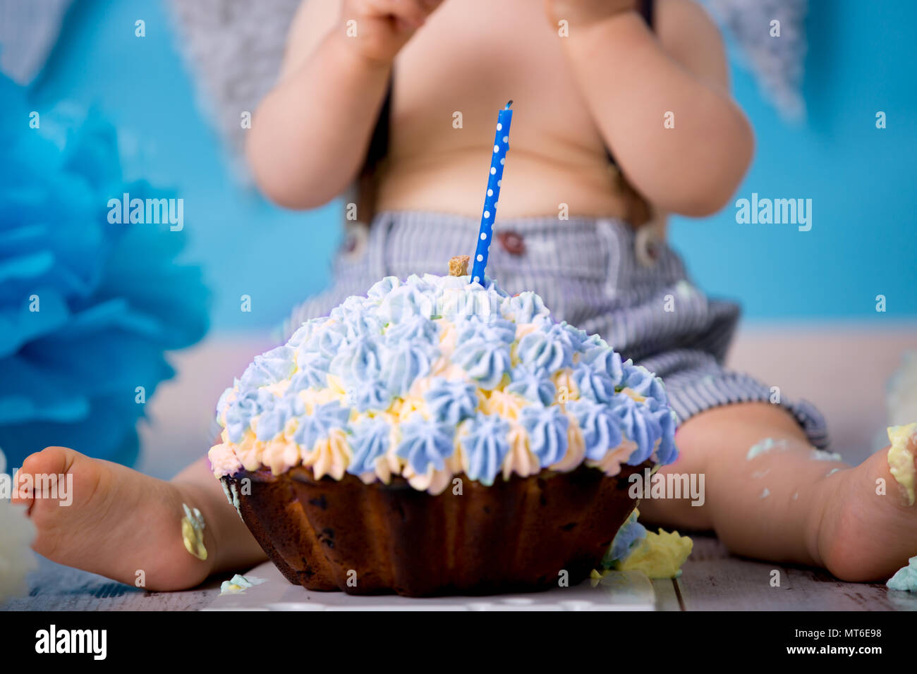 Fine Little Baby Boy Celebrating His First Birthday With Smash Cake Funny Birthday Cards Online Unhofree Goldxyz