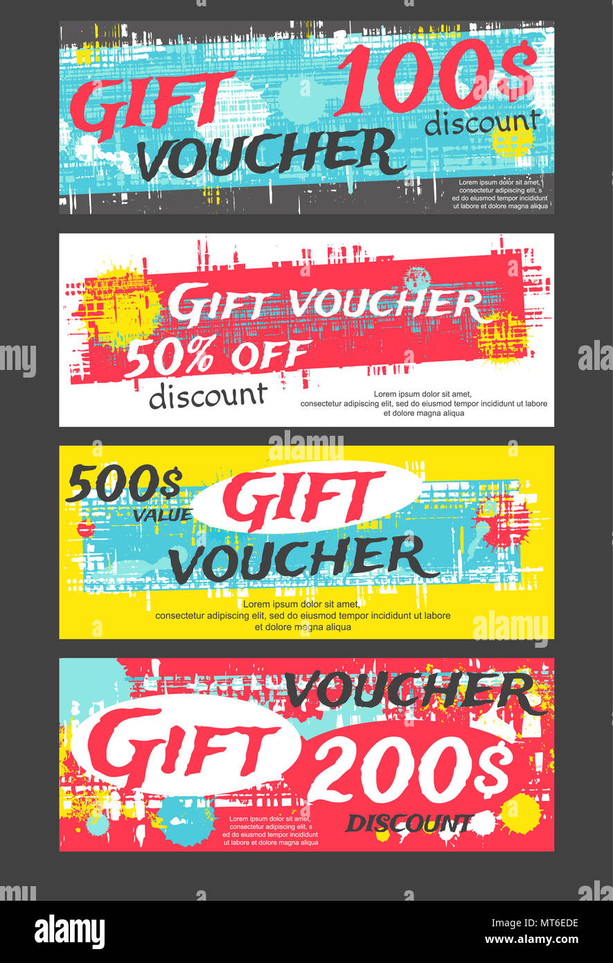 Set of horizontal gift voucher, label, coupon, sticker with ...