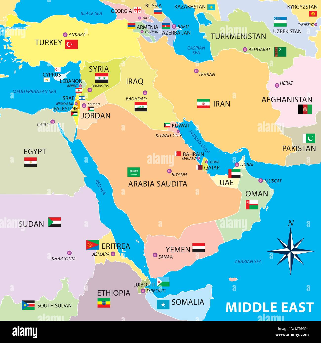 Middle east map with borders and flags - Stock Image