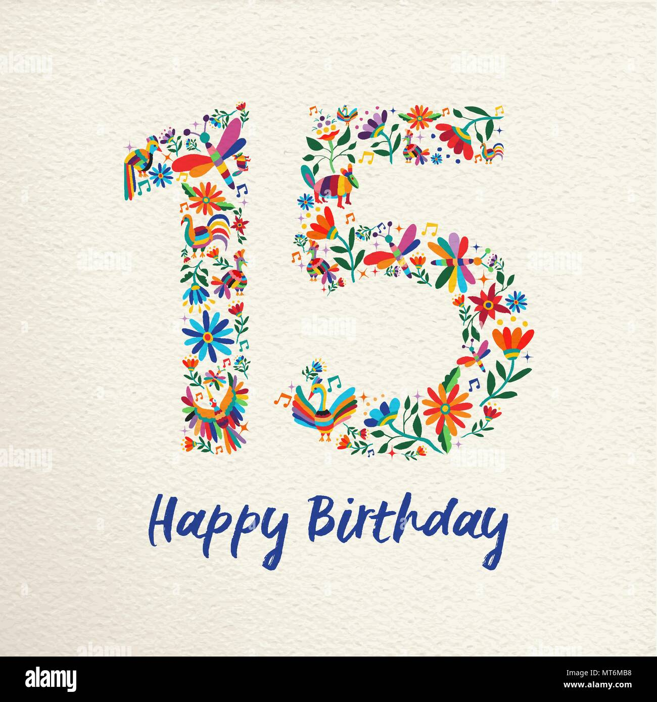 Happy birthday 15 fifteen years design with number made of colorful happy birthday 15 fifteen years design with number made of colorful spring flowers and animals on paper texture background ideal for party invitation filmwisefo
