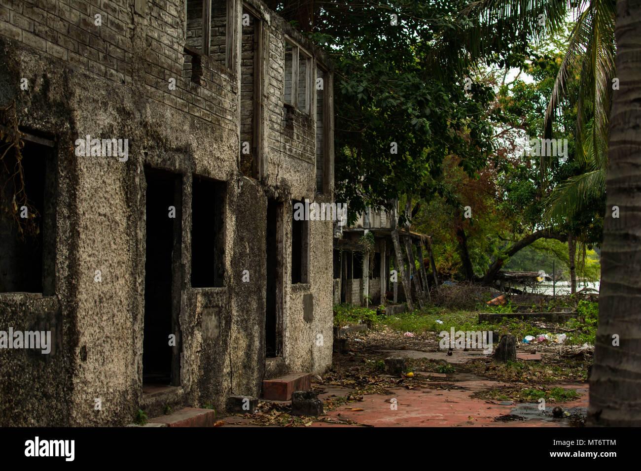 Myogalpa, Nicaragua. February 3, 2018. Abandoned and decrepit homes in Myogalpa, the biggest town on Ometepe Island - Stock Image