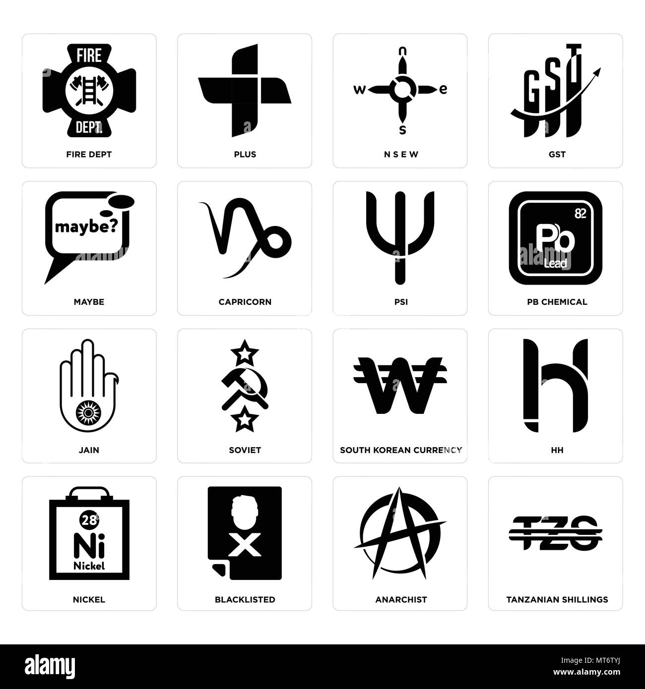 Set Of 16 simple editable icons such as tanzanian shillings, anarchist, blacklisted, nickel, hh, fire dept, maybe, jain, psi can be used for mobile, w - Stock Vector