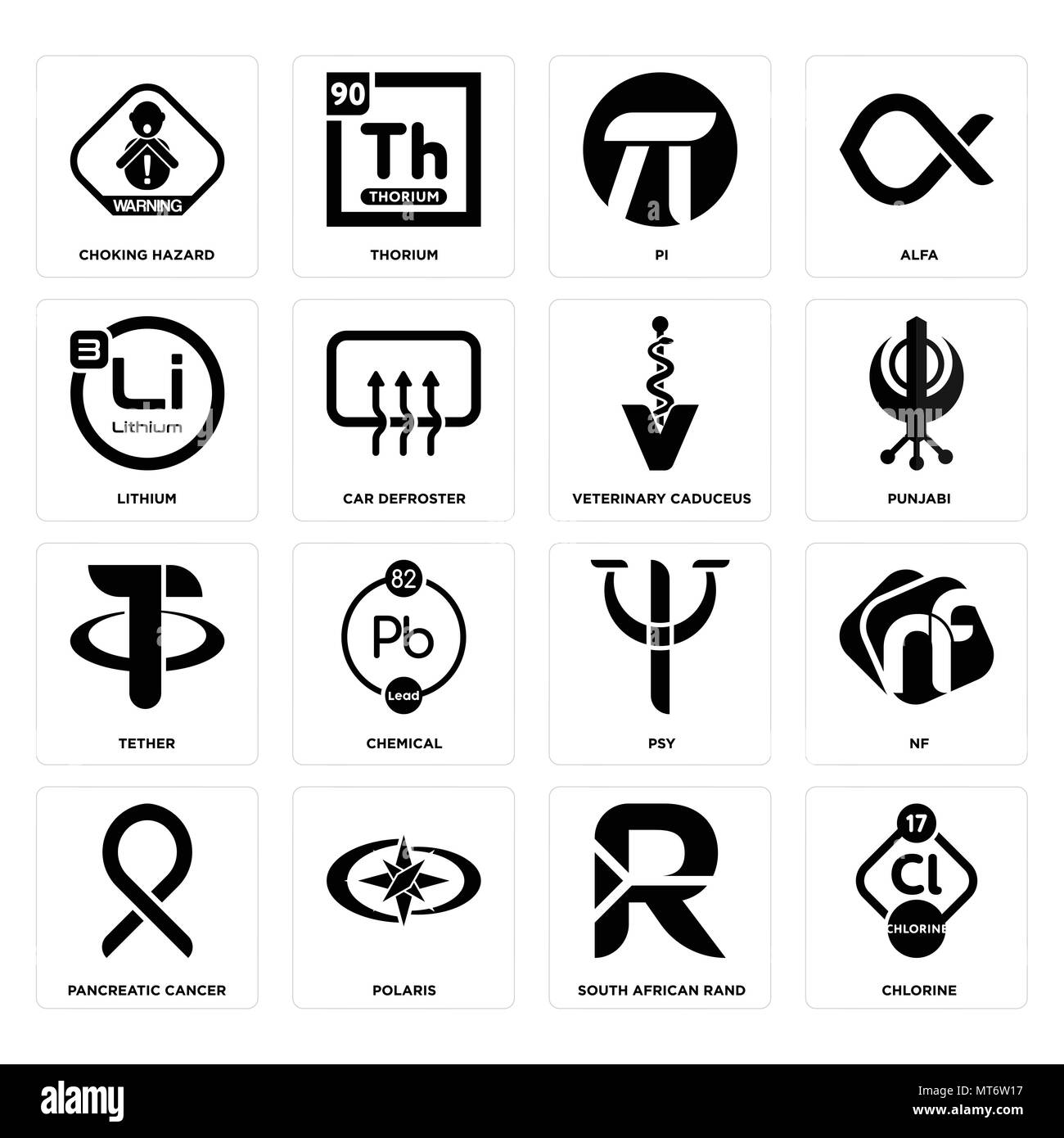 Set Of 16 simple editable icons such as chlorine, south african rand, polaris, pancreatic cancer, nf, choking hazard, lithium, tether, veterinary cadu - Stock Vector