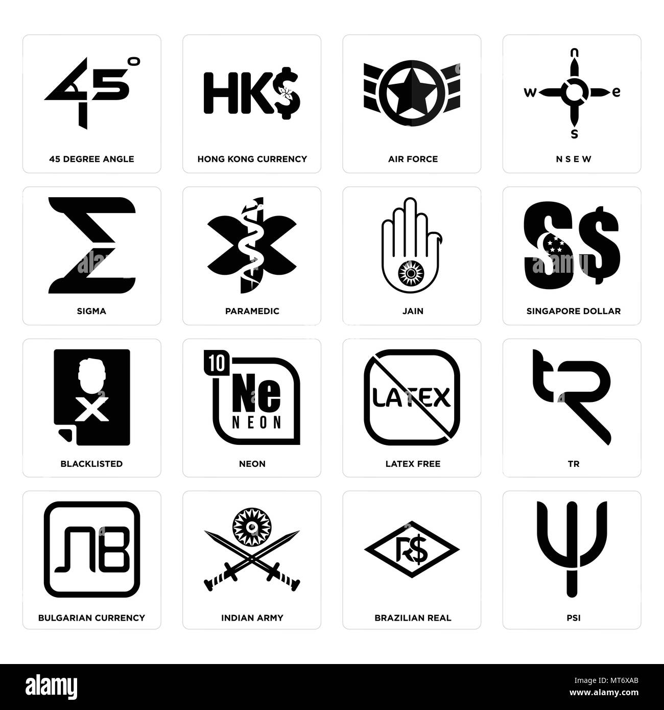 Set Of 16 simple editable icons such as psi, brazilian real, indian army, bulgarian currency, tr, 45 degree angle, sigma, blacklisted, jain can be use - Stock Vector