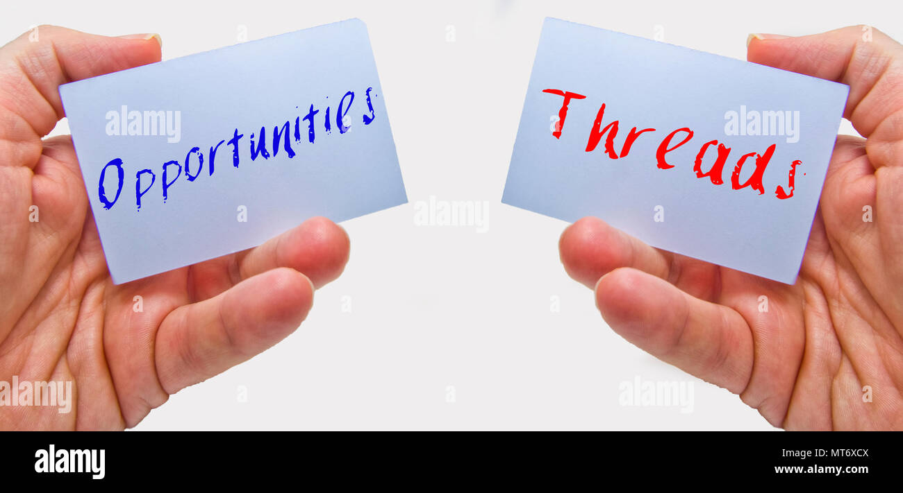 man hands holding cards with the words oppurtunities and threads for swot analysis Stock Photo