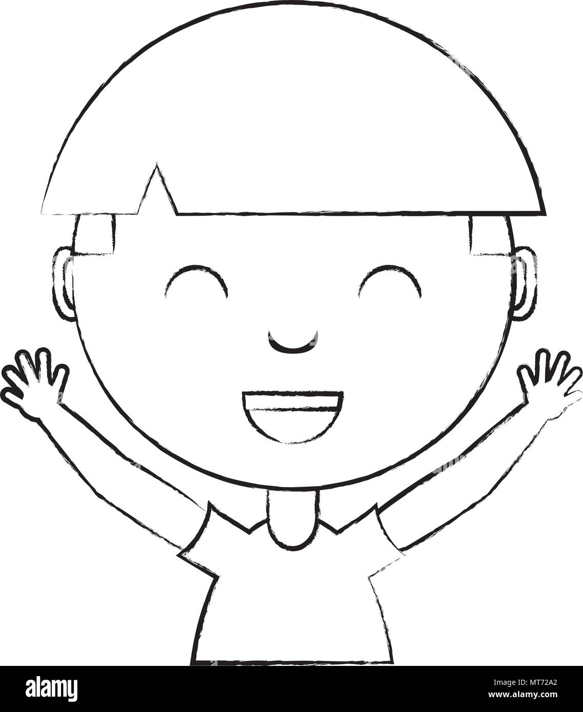Sketch of cute boy smiling over white background vector illustration