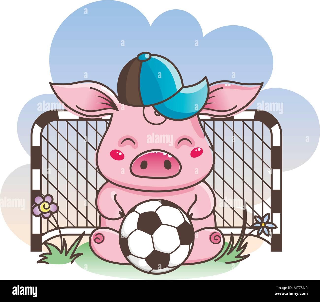 Cute cartoon pig with a soccer ball. Vector illustration. Baby animal art - Stock Vector