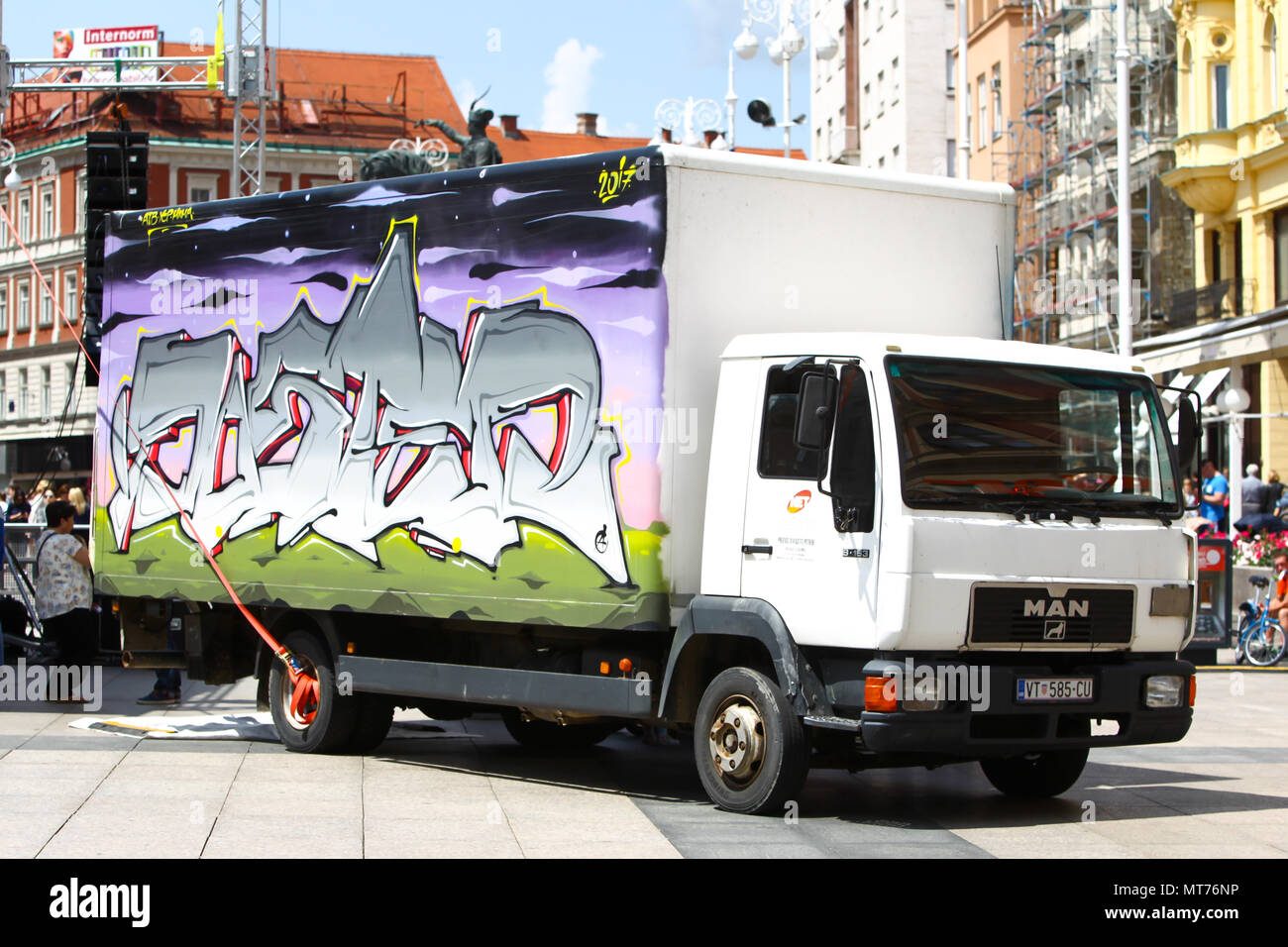 ZAGREB, CROATIA - MAY 19, 2018 : A view of graffiti on a truck parked on Jelacic square in Zagreb, Croatia. Stock Photo
