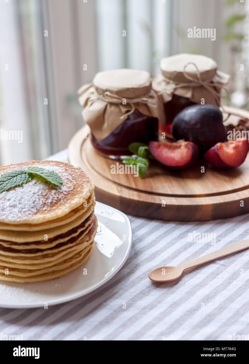 pancakes with jam breakfast - Stock Image