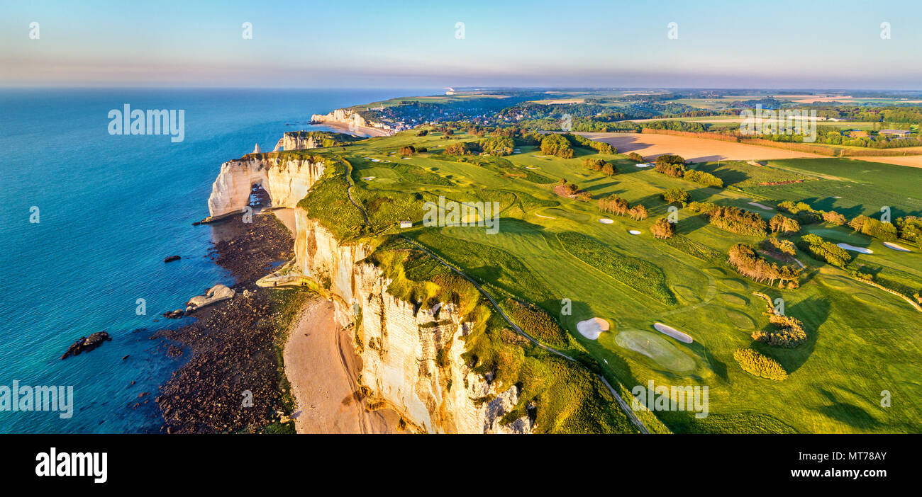 Aerial panorama of chalk cliffs at Etretat - Normandy, France - Stock Image