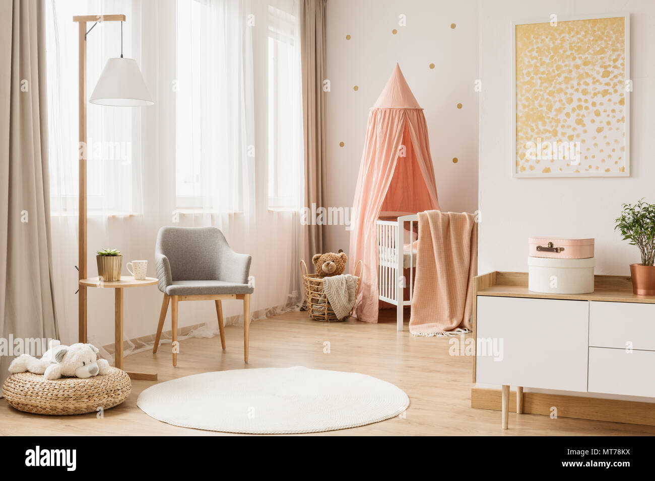 White Round Rug In Scandi Living Room Interior With Babyu0027s Cradle And Gold  Poster Above Cupboard