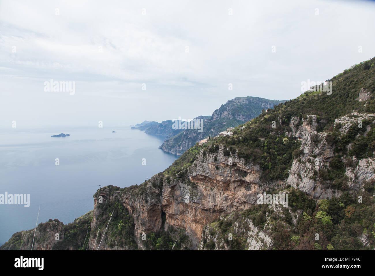 Blick auf Positano Weg der Götter an der Amalfiküste,  path of the gods Amalficoast - Stock Image