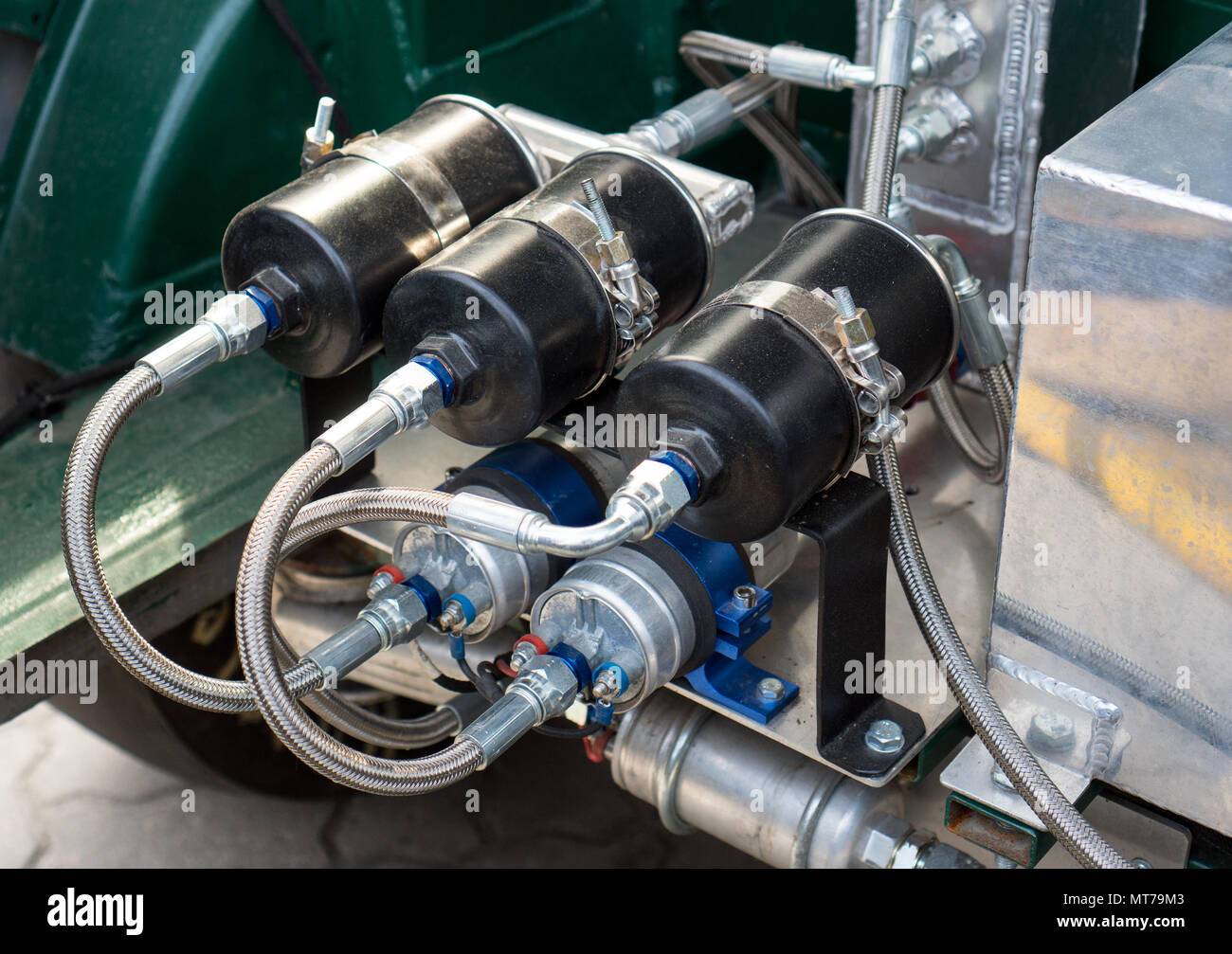 Handmade nitrous oxide engine in car trunk. - Stock Image
