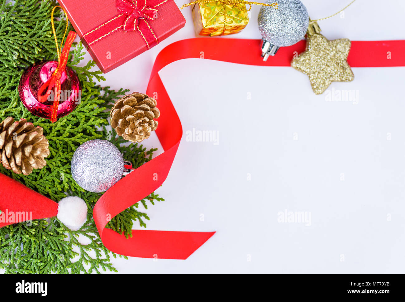 christmas decoration on white background and new year greeting card template