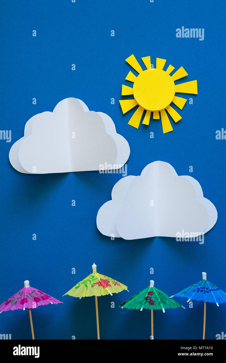 Paper Umbrellas Under Sun Origami Sun Protection And Summer