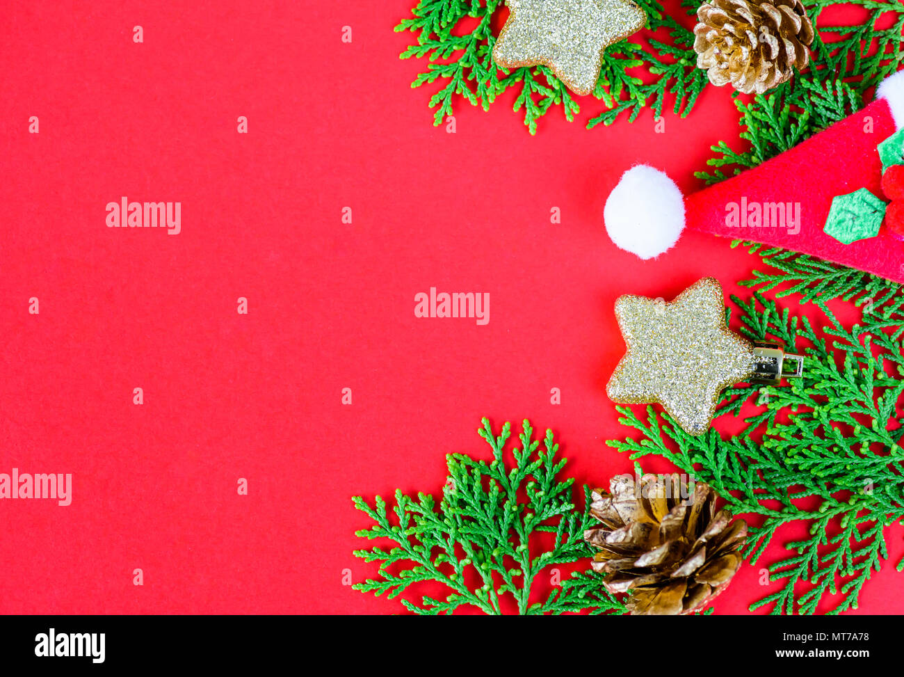 christmas decoration on red background and new year greeting card template