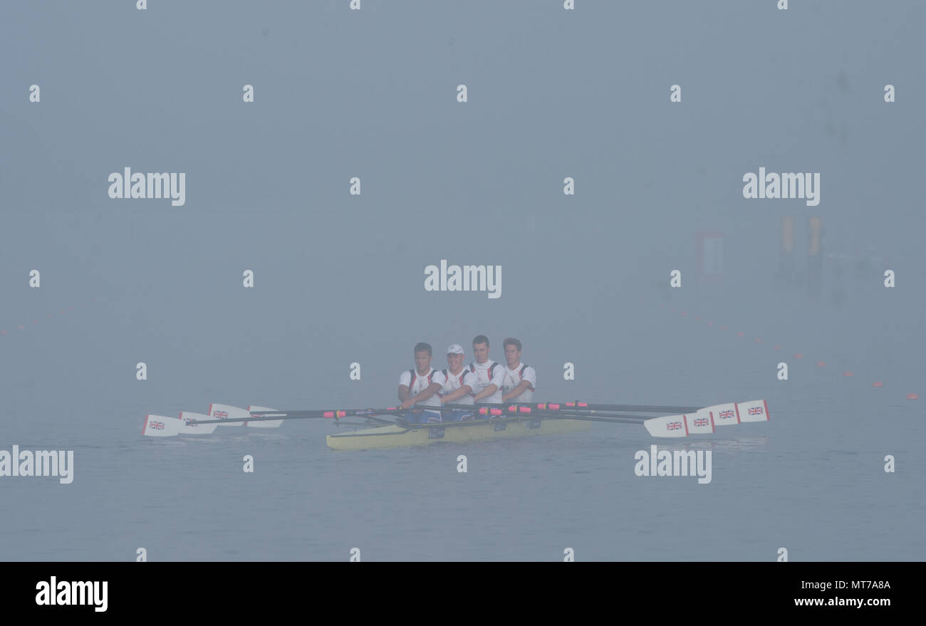 Hamburg. GERMANY.   GBR JM4X. Steven PARSONAGE, Rowan LAW, Samuel MEIJER and Chris LAWRIE turning at the end of the course in the Foggy and misty cond - Stock Image