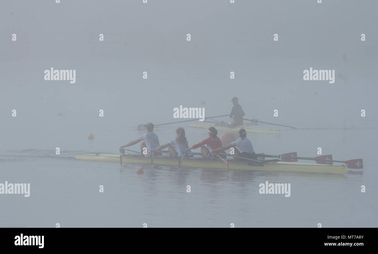 Hamburg. GERMANY.   SUI JW4X. Misty, Foggy,  atmospheric, conditions, Friday, Morning, training, 2014, FISA, Junior, World, Rowing, Championships. - Stock Image