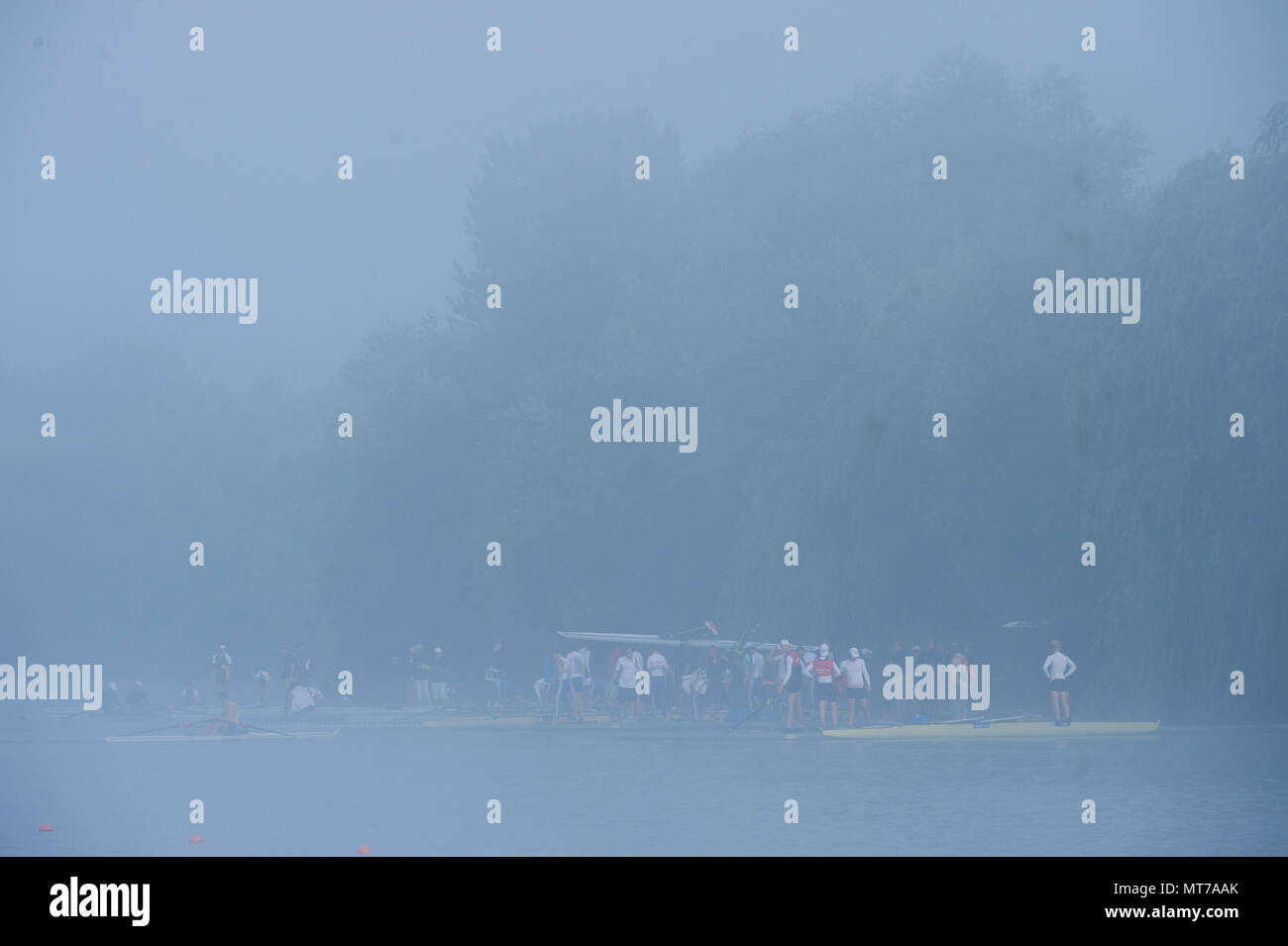 Hamburg. GERMANY.   Misty Foggy,  atmospheric, conditions, Friday, Morning training at the 2014 FISA Junior World Rowing. Championships.  © Peter SPURRIER - Stock Image