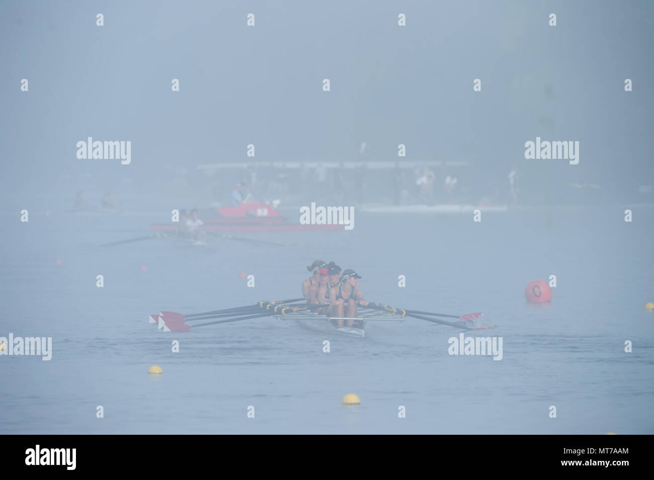 Hamburg. GERMANY.   USA JW4X-. Misty, Foggy,  atmospheric, conditions, Friday, Morning training at the 2014 FISA Junior World rowing. Championships.   - Stock Image