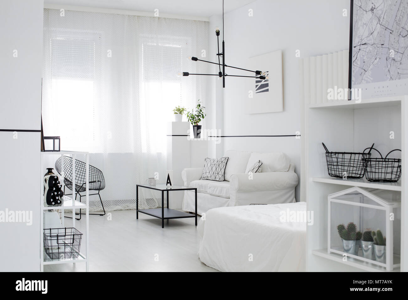 Scandinavian Style Living Room Interior With Windows Black Lamp - White-living-room-style