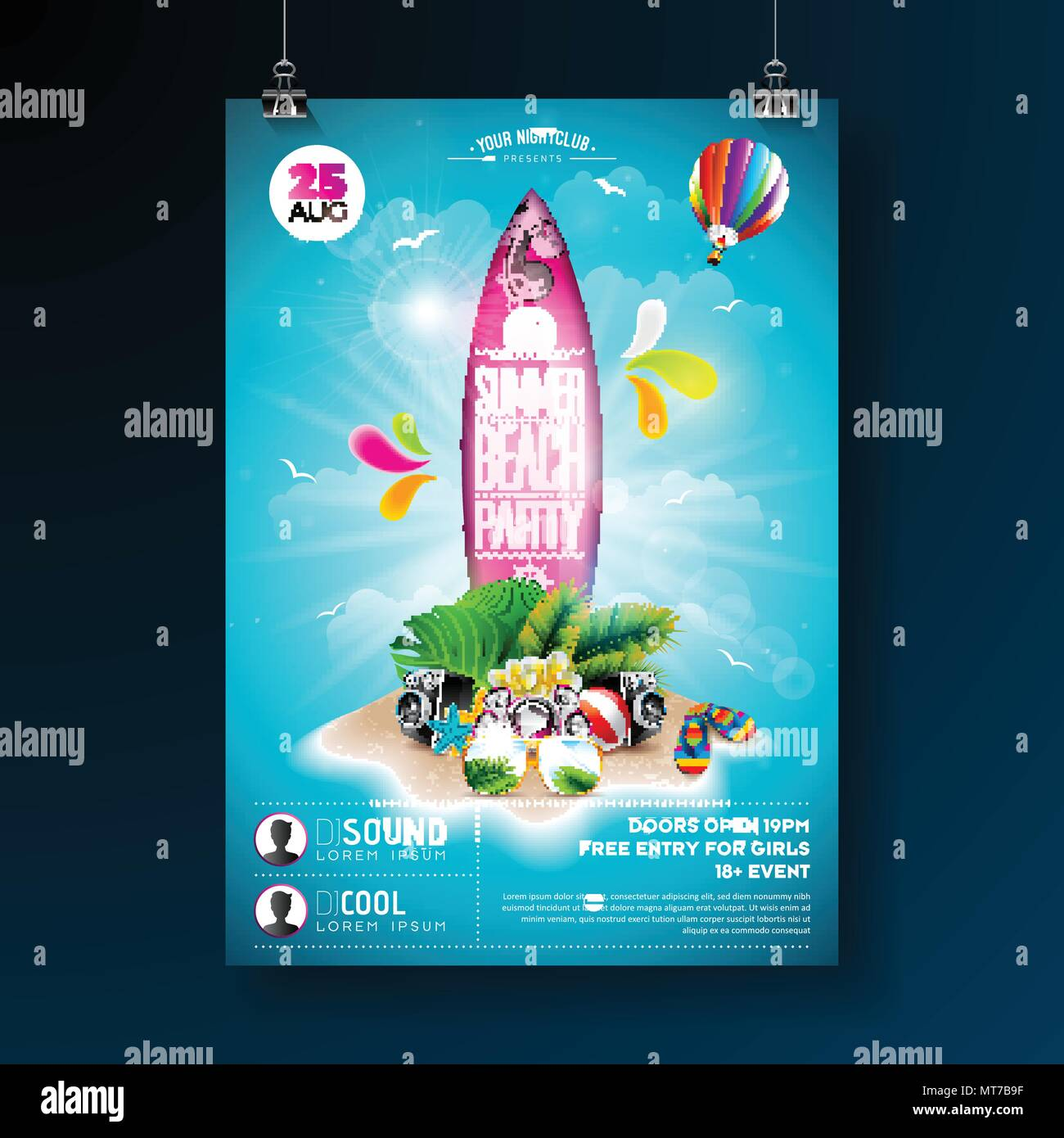 vector summer beach party flyer design with typographic elements on