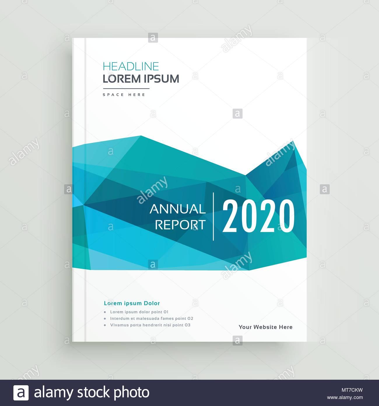 Modern Blue Geometric Brochure Cover Page Design Stock