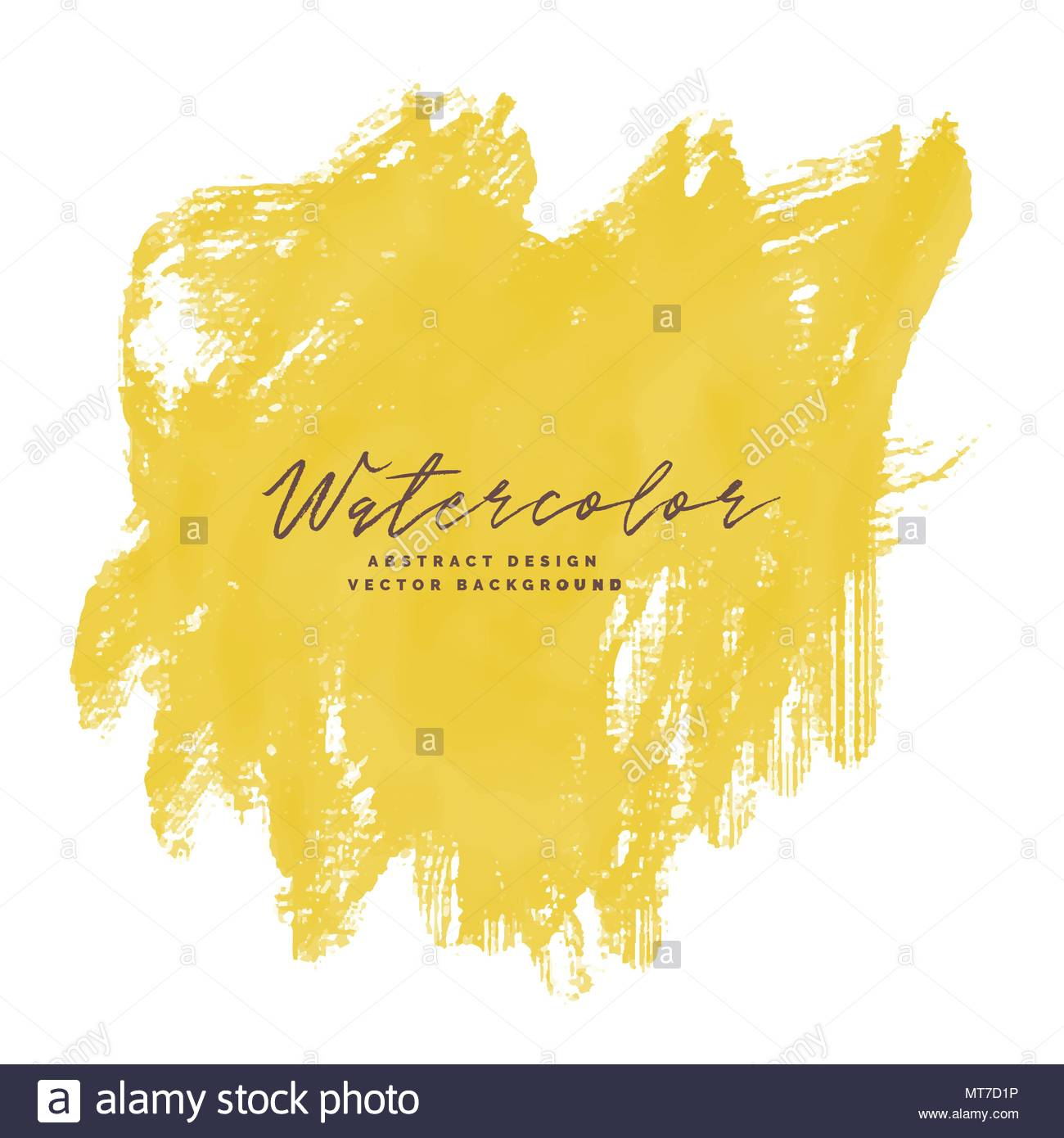 Yellow Paint Brush Stroke Watercolor With Text Space Stock