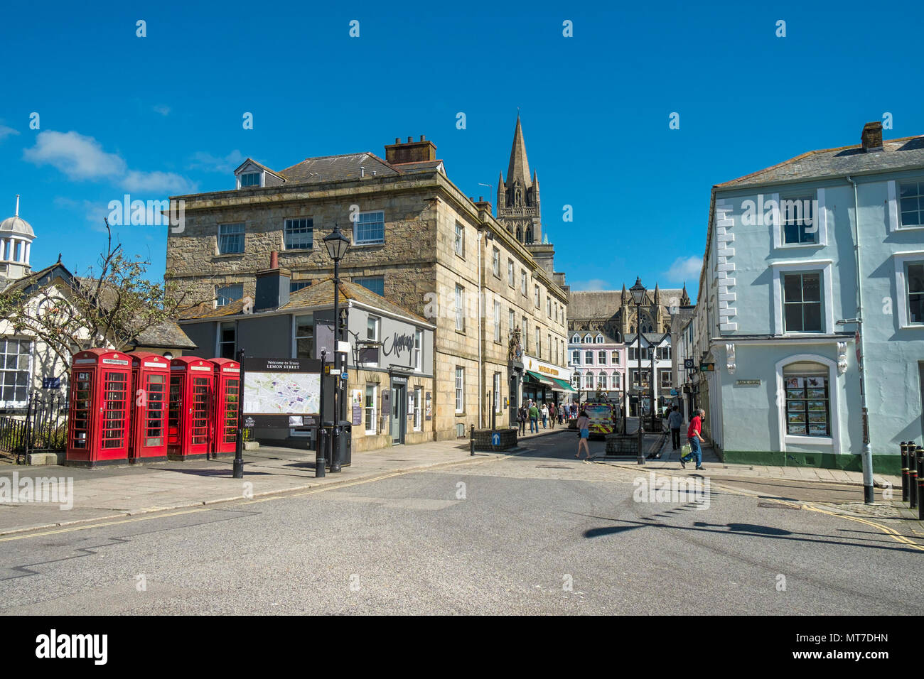 Lemon Street in the City of Truro in Cornwall. - Stock Image