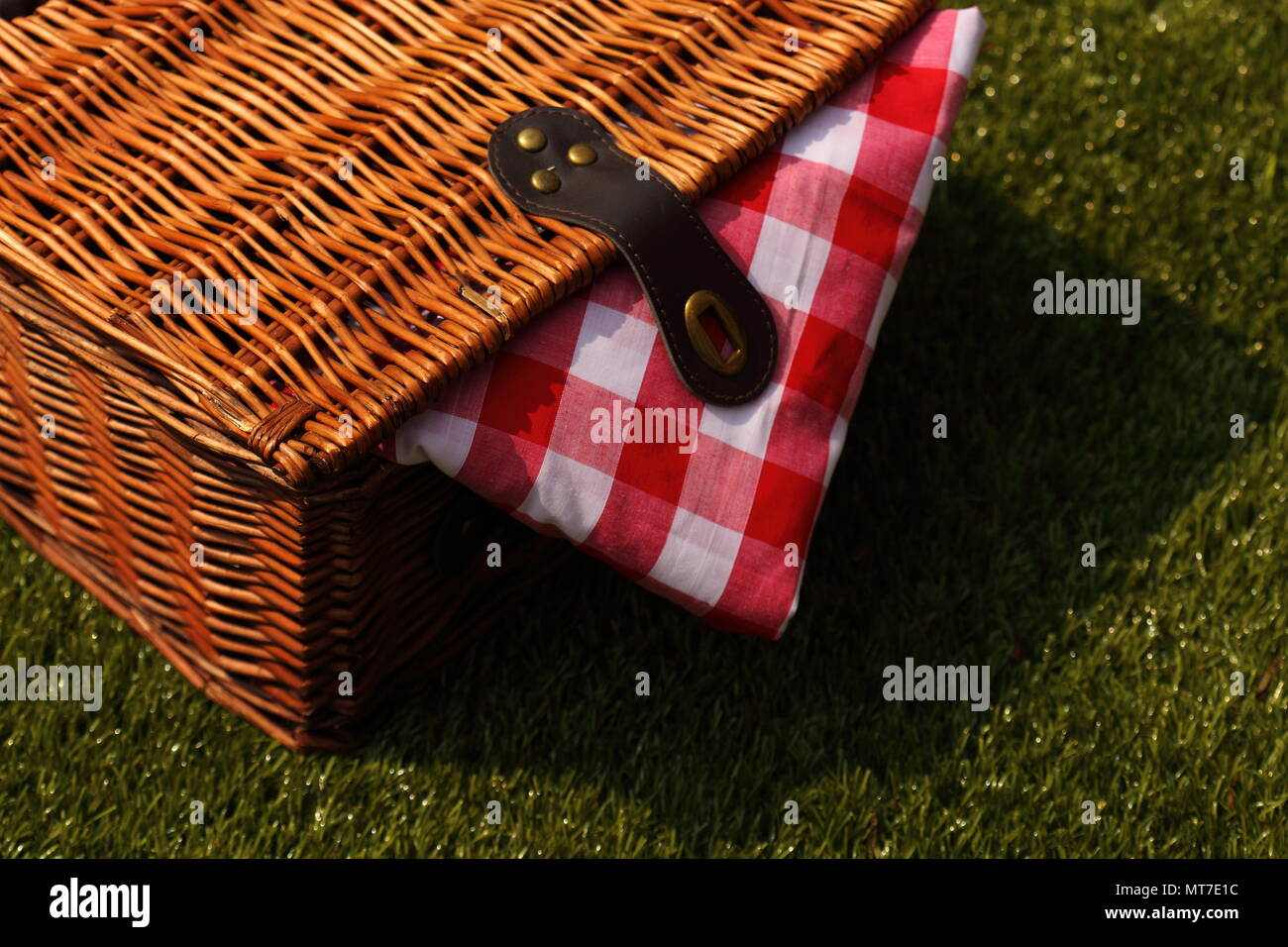 Wicker picnic basket with a red and white gingham cloth on a grass background - Stock Image