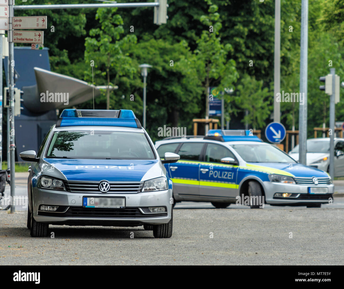 Used Police Cars >> Two German Police Cars With Grey And Blue Markings Waiting
