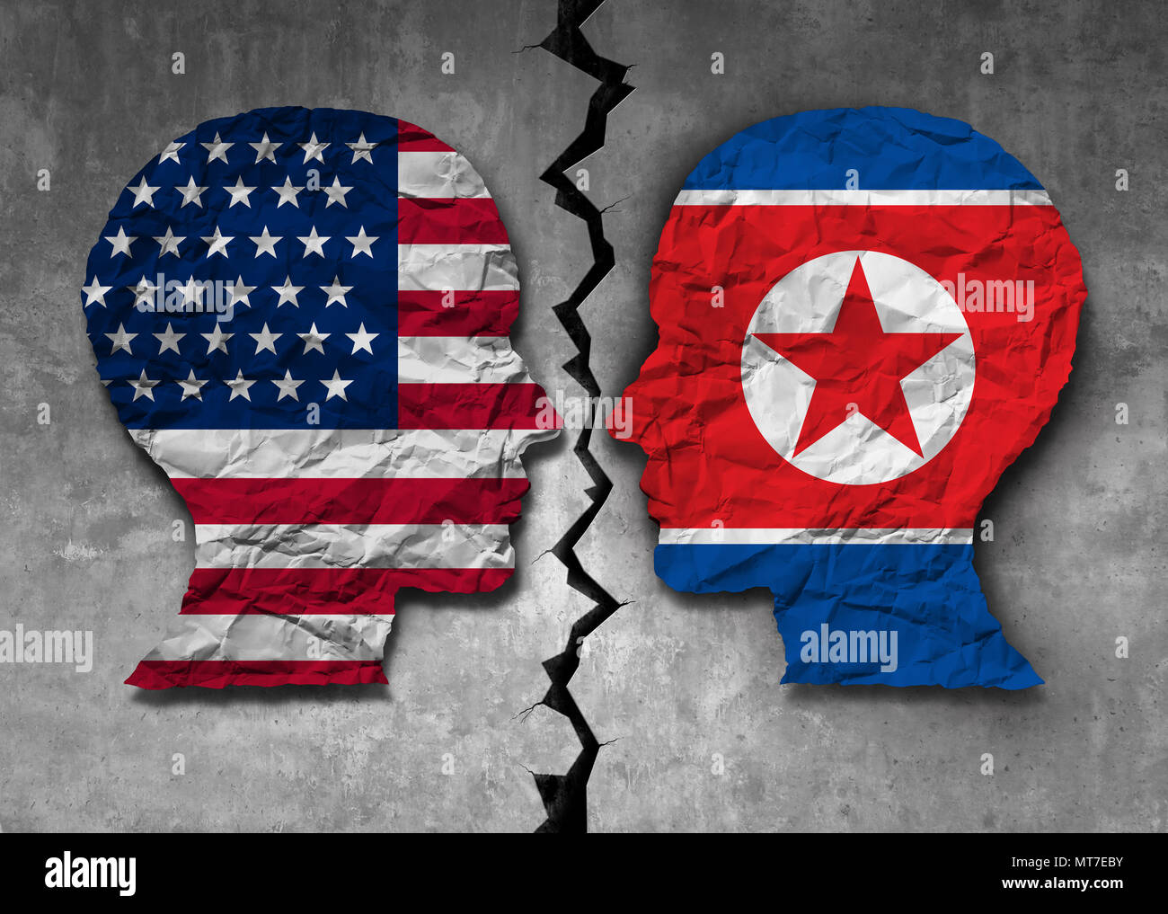 North Korean American challenge and North Korea United States problem diplomacy meeting between pyongyang and washington as an east asian. - Stock Image