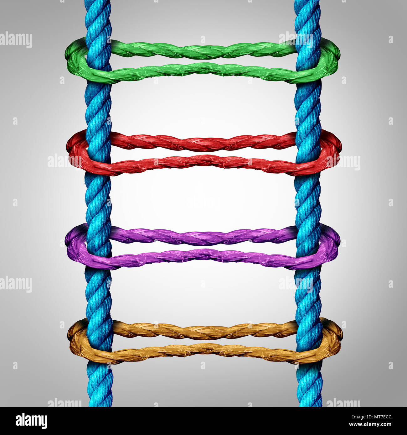 Ladder connection as a central network business concept as a group of diverse ropes connected to parallel ropes as a metaphor for connectivity. - Stock Image