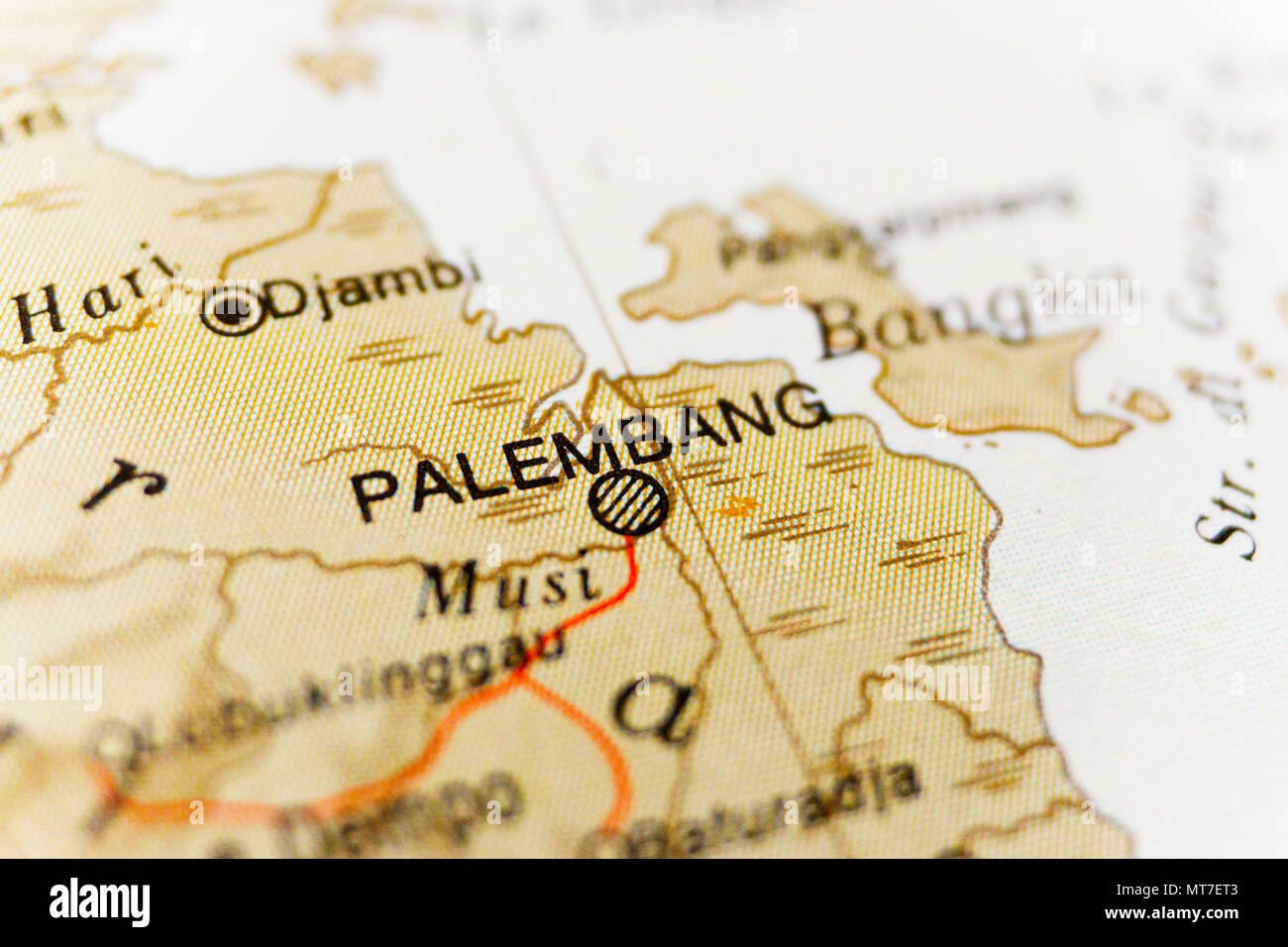 Palembang map. A close up shot of Palembang. Travel concept. Photo stock. - Stock Image