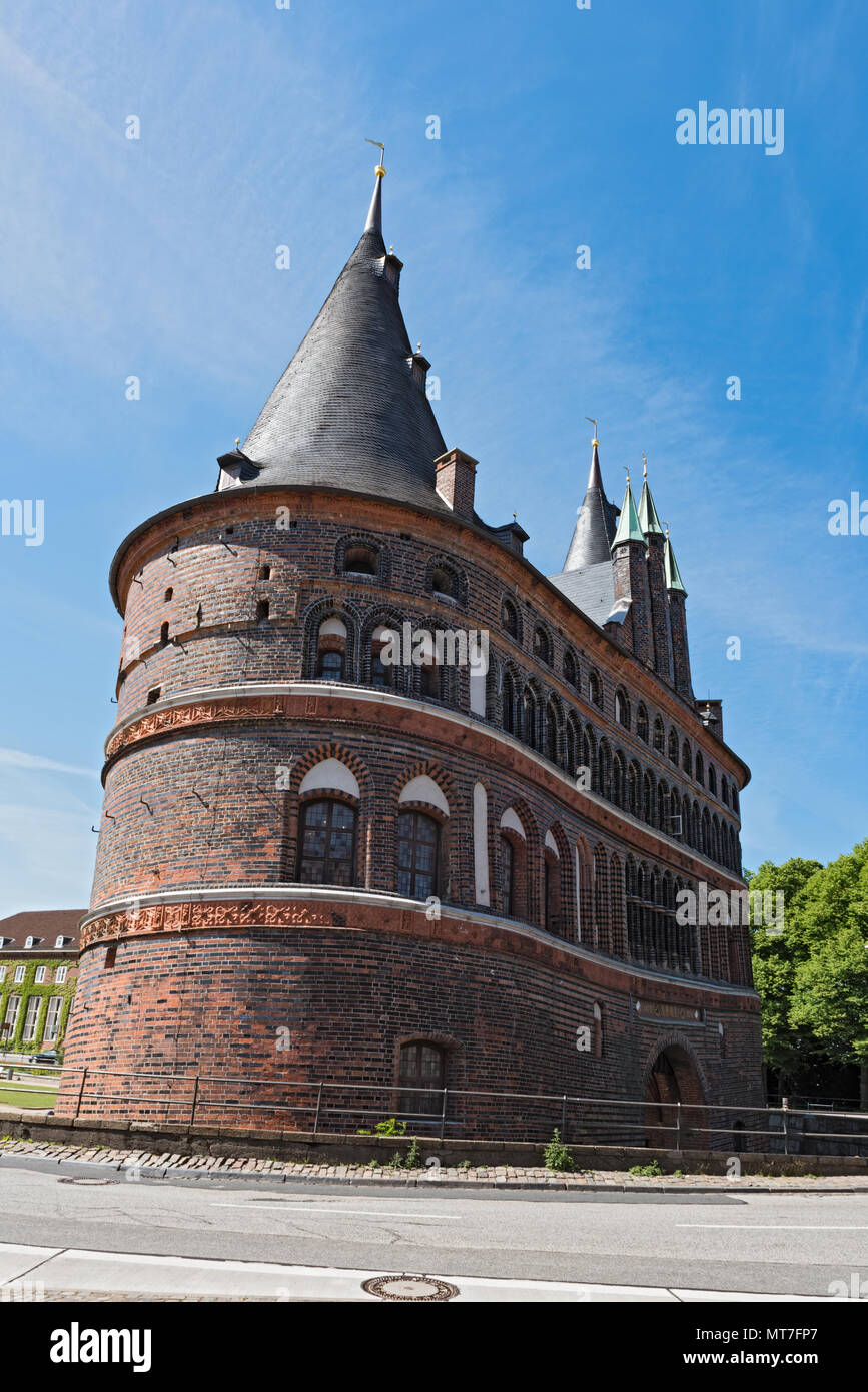the holsten gate or holstentor in Luebeck old town, germany, schleswig-holstein - Stock Image