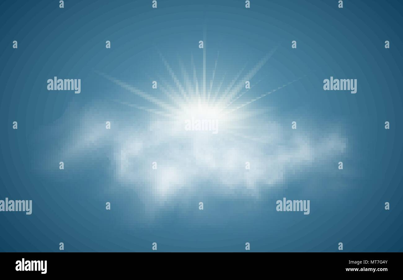 Realistic sun with clouds. Sunlight. Sun rays. Transparent clouds. Vector illustration. Summer time. Vector illustration EPS 10 - Stock Vector