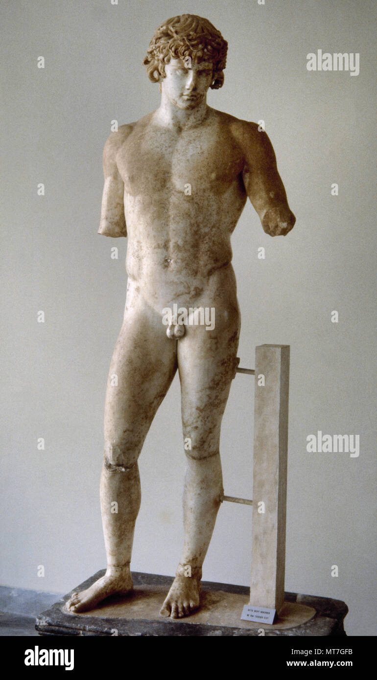 Antinous (Bithynium, Bithynia, c. 110-near Besa, Egypt, 130 BC). Bithynian Greek youth and a favourite or lover of the Roman emperor Hadrian. He was deified by the emperor after his death. Sculpture. Marble of Paros. 130-138 AD. Delphi Archaeological Museum, Greece. Stock Photo