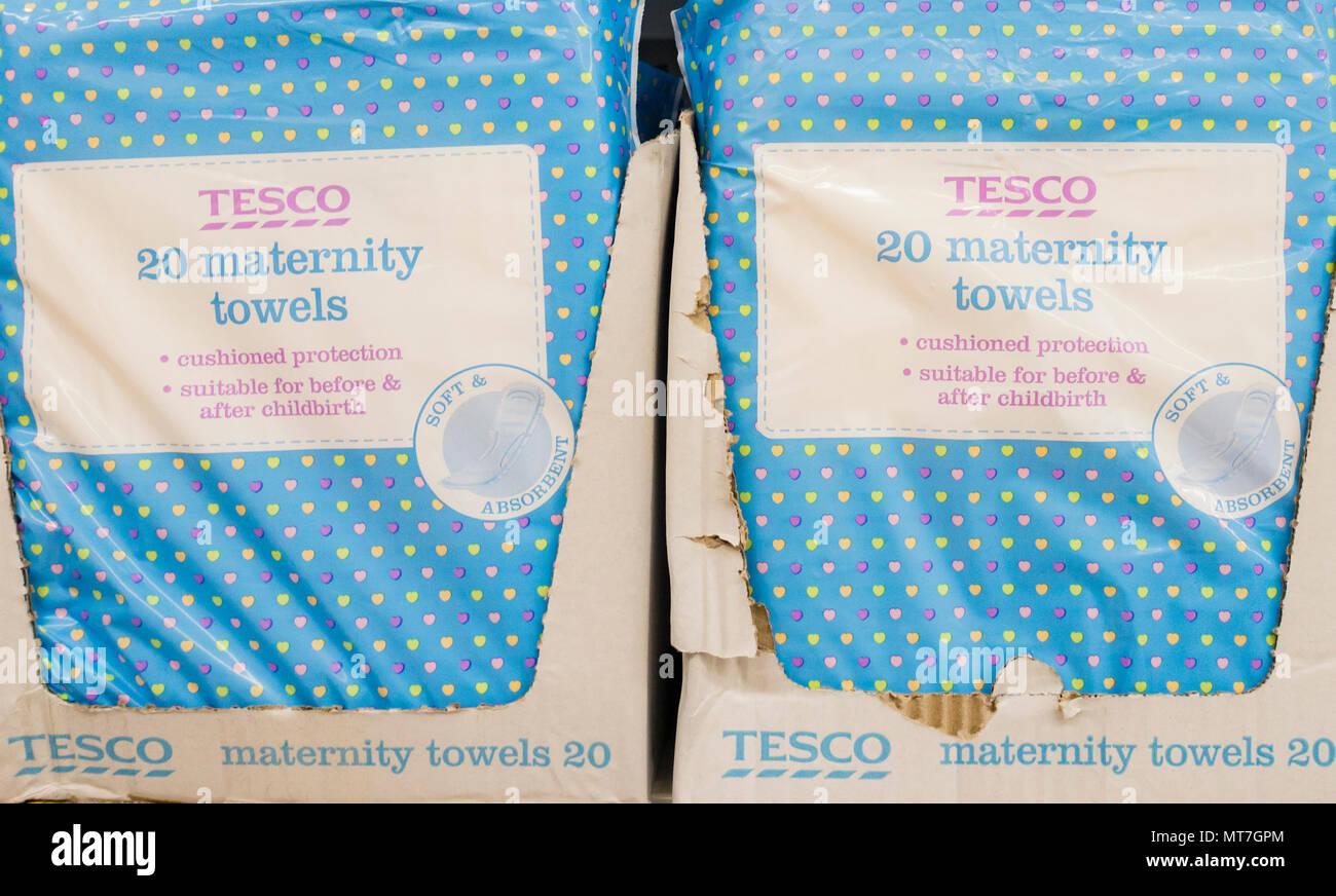 Tesco own brand maternity towels in Tesco store. UK - Stock Image